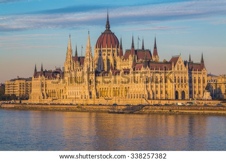 The outside of the Hungarian Parliament Building from the side towards sunset. Reflections can be seen in the water. - stock photo