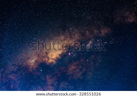 The outstanding beauty and clarity of the Milky Way, with close up of the its colorful core. Long exposure captured at 4000 m from Amantani' Island, Peru. - stock photo
