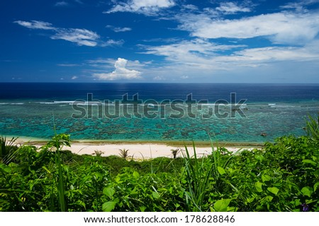 The Overlook of YOSHINO Coast, Okinawa Prefecture/Japan, 2013/6/17.  - stock photo