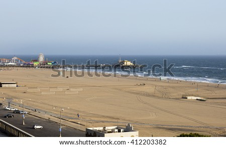 The Pacific ocean and a clear day, Santa Monica. Beach landscape in the USA with blue sea.
