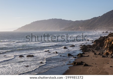 The Pacific Ocean has worn Northern California's coastline into dramatic scenery. Highway 1 is built along the coast, allowing drivers to view some of North America's most spectacular vistas. - stock photo