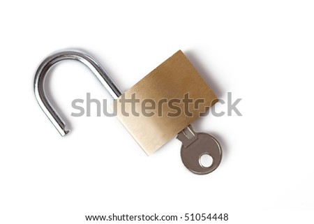 the padlock on a white background - stock photo