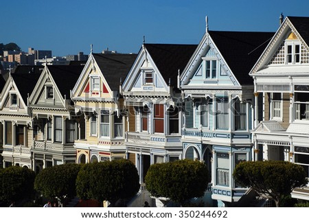 The Painted Ladies is the famous Victorian row houses from Alamo Square in San Francisco. - stock photo
