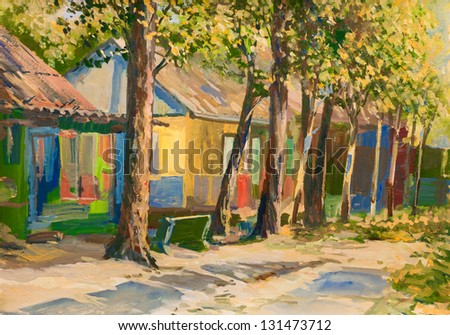 The painting depicts the autumn holiday village street. Used gouache. Picture painted in 2010. - stock photo