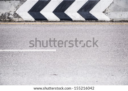 The painting sign and road highway - stock photo