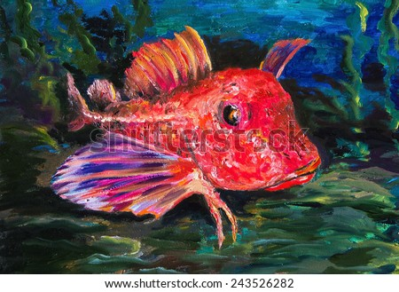 The paintings.The Red gurnard - stock photo