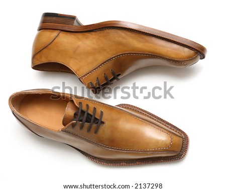 The Pair Classical, Leather, Brown male shoes. - stock photo