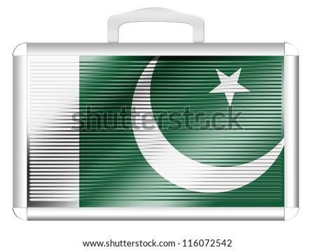 The Pakistani flag painted on  metal aluminum case - stock photo