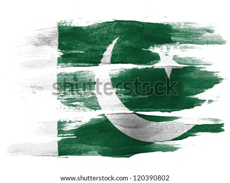 The Pakistani flag painted on  white paper with watercolor - stock photo