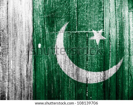 The Pakistani flag painted on wooden pad - stock photo