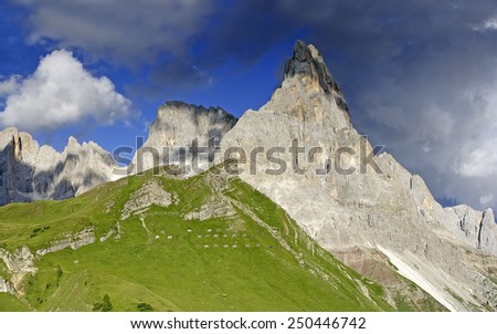 The Pala group (Italian : Pale di San Martino, Dolomiti delle Pale or Gruppo delle Pale) Mountain range in the Dolomites, in the eastern Trentino, part of the province of Belluno, Italy. UNESCO WH - stock photo