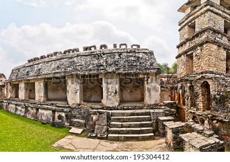 The Palace observation tower in Palenque, Chiapas, Mexico - stock photo