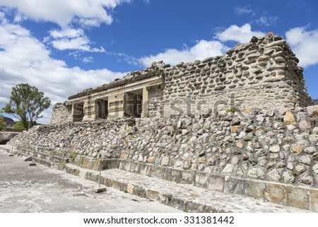 The Palace of Columns at Mitla archaeological site, Oaxaca, Mexico - stock photo