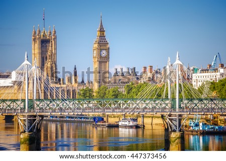 The Palace of Westminster Big Ben at sunny day in London, England, UK. - stock photo