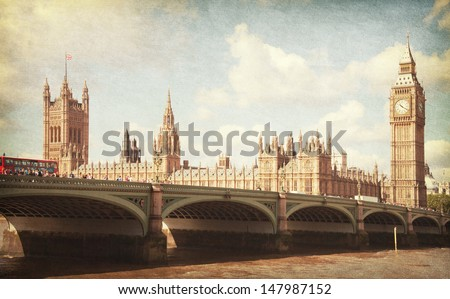 The Palace of Westminster, Elizabeth Tower and Westminster Bridge. Toned image. Added paper texture. - stock photo