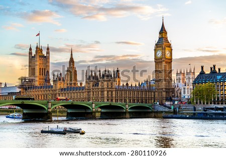 The Palace of Westminster in London in the evening - England - stock photo