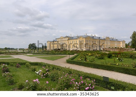 The palace Rundale built in 1736-1740 by famous architect Bartolomeo Rastrelli - stock photo