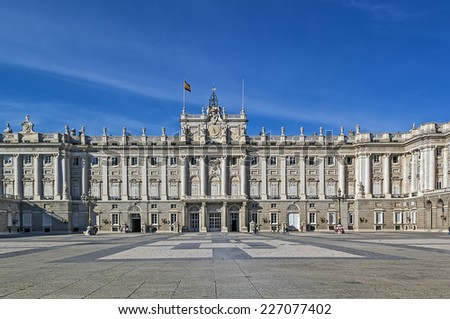 The Palacio Real de Madrid or Royal Palace of Madrid is the official residence of the Spanish Royal Family at the city of Madrid, but is only used for state ceremonies. - stock photo