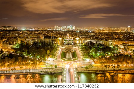 The Palais de Chaillot, the Trocadero and La Defense as seen from Eiffel Tower. Paris, France - stock photo