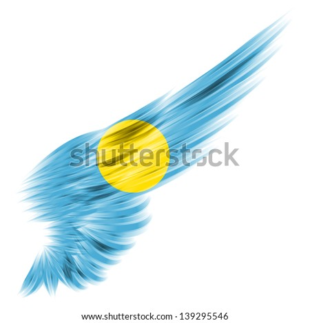 The Palau flag on Abstract wing with white background - stock photo