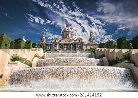 The Palau Nacional situated in Montjuic against blue sky, Barcelona - stock photo