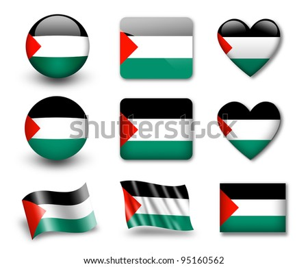 The Palestinian flag - set of icons and flags. glossy and matte on a white background.