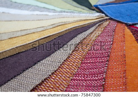 The palette of the furniture upholstery, shallow depth of field - stock photo