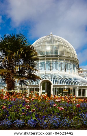 The Palm House in the Belfast Botanic Gardens, Northern Ireland - stock photo