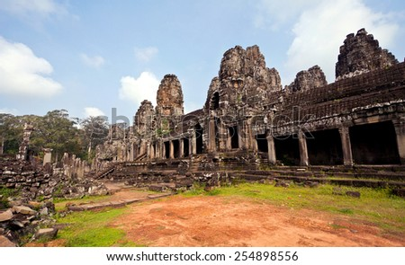 The Panorama Bayon Castle, Angkor Thom, Cambodia - stock photo