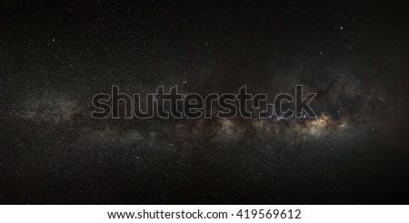 The Panorama milky way galaxy.Long exposure photograph.with grain - stock photo