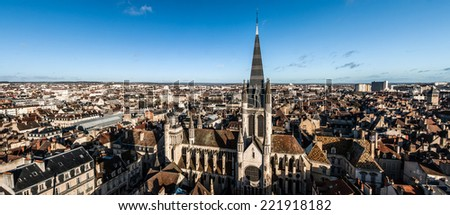 The panorama of Dijon from high point of view with the cathedral on the foreground - stock photo