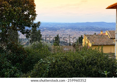 The panorama of Florence from Fiesole city, Italy - stock photo