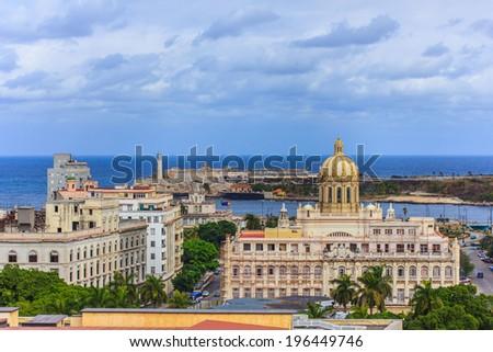 The panorama of Havana with Revolution Museum, Cuba - stock photo