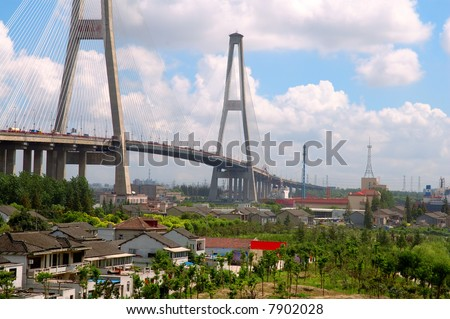 The panorama of Xu Pu bridge in Shanghai, China