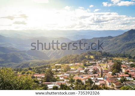 The panoramic landscape of Capulalpam de Mendez village in the highlands of Oaxaca, Mexico. It is one of the Pueblos Magicos?� towns