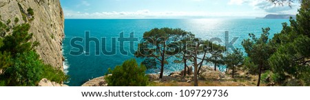 The panoramic view from the Crimean Mountains in the Black Sea, Ukraine - stock photo