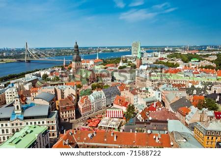 The panoramic view of city Riga, Latvia - stock photo