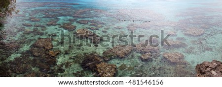 The panoramic view of crystal clear waters around Lifou island (New Caledonia).