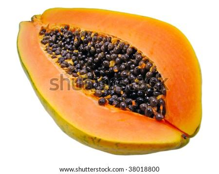 the papaya fruit on a delicious slice isolated on white - stock photo