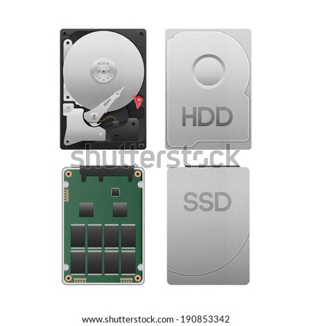 the paper cut of hard disk drive vs ssd isolated is data storage equipment with SATA technology in computer for safety on white background - stock photo