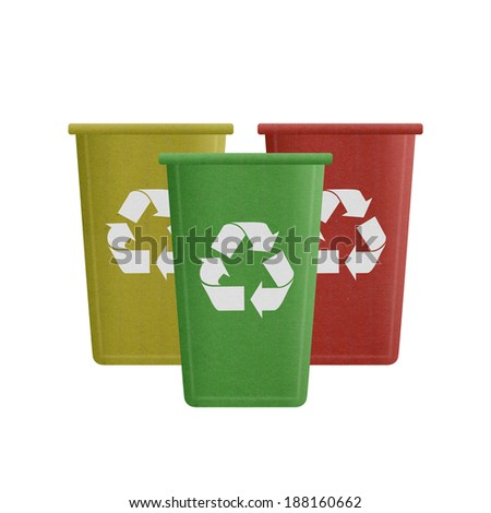the paper cut of recycle bin is can recycling to garbage for environmental conservation symbol