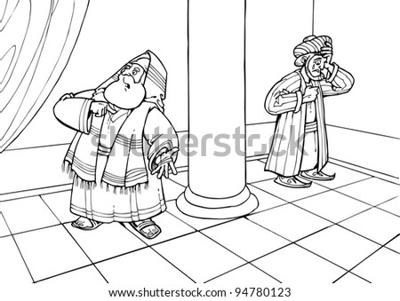 The parable of Jesus Christ about the Pharisee and the publican praying in the temple - stock photo
