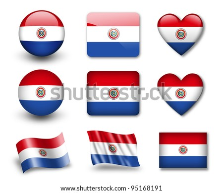 The Paraguayan flag - set of icons and flags. glossy and matte on a white background. - stock photo