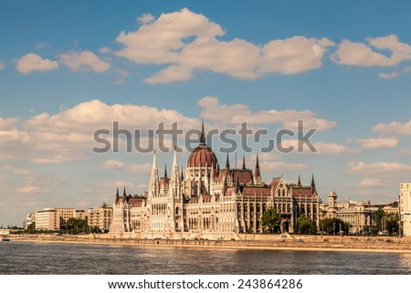 The Parliament Building in Budapest, Hungary and the Danube River  - stock photo