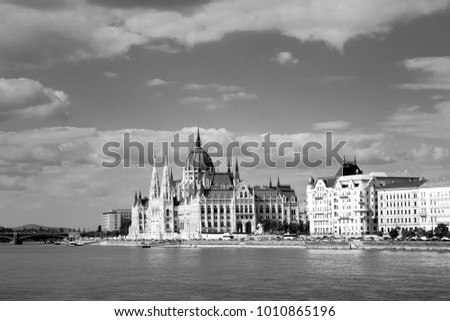 The parliament building on the east river bank of the Danube in Budapest, Hungary - black and white