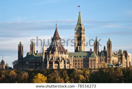 The Parliament Buildings in Ottawa Canada in autumn. - stock photo