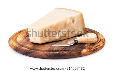 the parmesan cheese on cutting board  on white background
