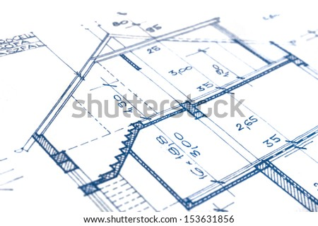 The part of an architectural project closeup - stock photo