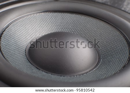 the part of black loudspeaker close up - stock photo
