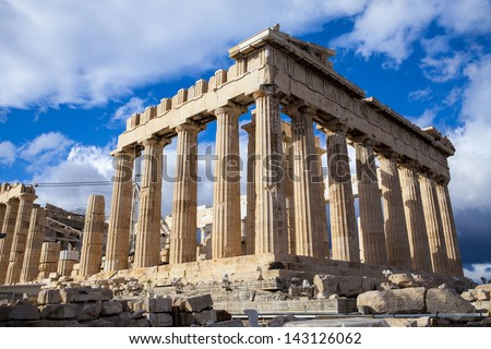 The Parthenon, in Athens, Greece - stock photo
